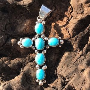 Jewelry - Chimney Butte Sterling  Turquoise Cross Pendant